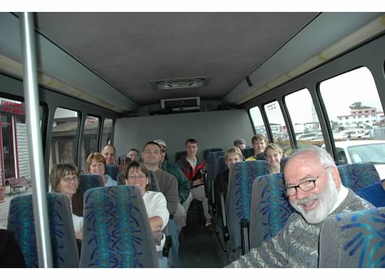 Father Bob, seated in front taking missioners to Belize; doing good in the world
