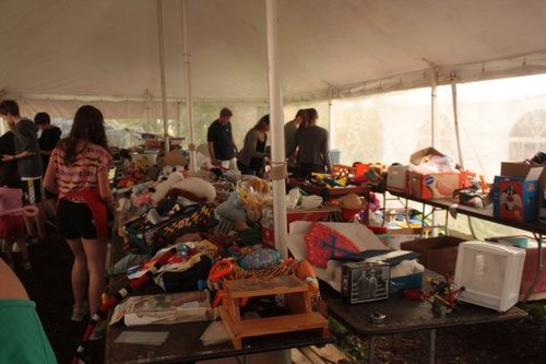 Inside the toy tent, one of many venues at the Fair Packed from front seat to tailgate!
