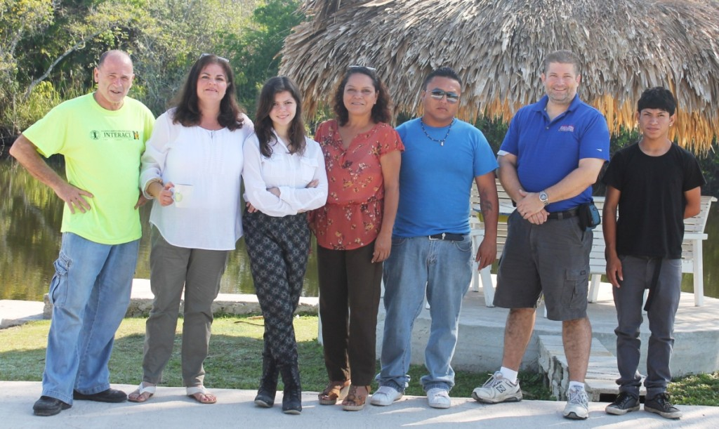 The Mission Team from left:  Mel Honig, Project Coordinator, Rotary Club of Sylvania; Amber Fisher, Education Professional, President Elect, Rotary Club of Elyria; Tori Fisher, student; Carmen Carillo, Belize Project Coordinator, Corozal Junior College Lecturer; Byron Sanchez, computer expert; Kent Iler, Computer expert and Rotary Club of Elyria; Franco Carillo, student