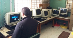 Kent checking out and then downloading educational software onto computers that were installed during Mission 1 to Jamaica.  This process was repeated at several Basic and Infant schools.  All the computers sent to Jamaica for this mission have educational installed.