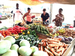 Jillian buying vegetables and fruits at the local market.  To her left is Hilda Hibbert, Savanna-La-Mar Rotarian and Project Coordinator in Jamaica.  Hilda was our constant companion and coordinated our activities during the mission.