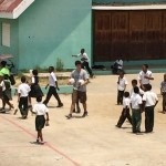 One of Scott's jobs was to inflate the soccer balls.  Two were distributed at each school.  Soccer is the major sport among the youth of Belize and each school has a soccer (football) field.