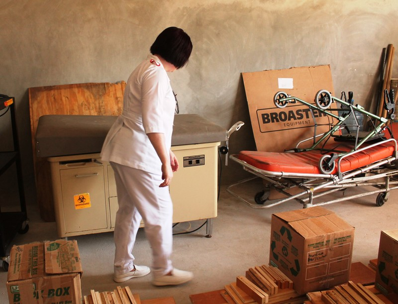 There was some extra room so medical equipment was placed on the container for the Orange Walk Northern Regional Hospital.  Shown is one of the nurses from the hospital checking out the donated medical equipment.  Not only were they happy to get the medical equipment we sent but they also gave us a list of other needed equipment.