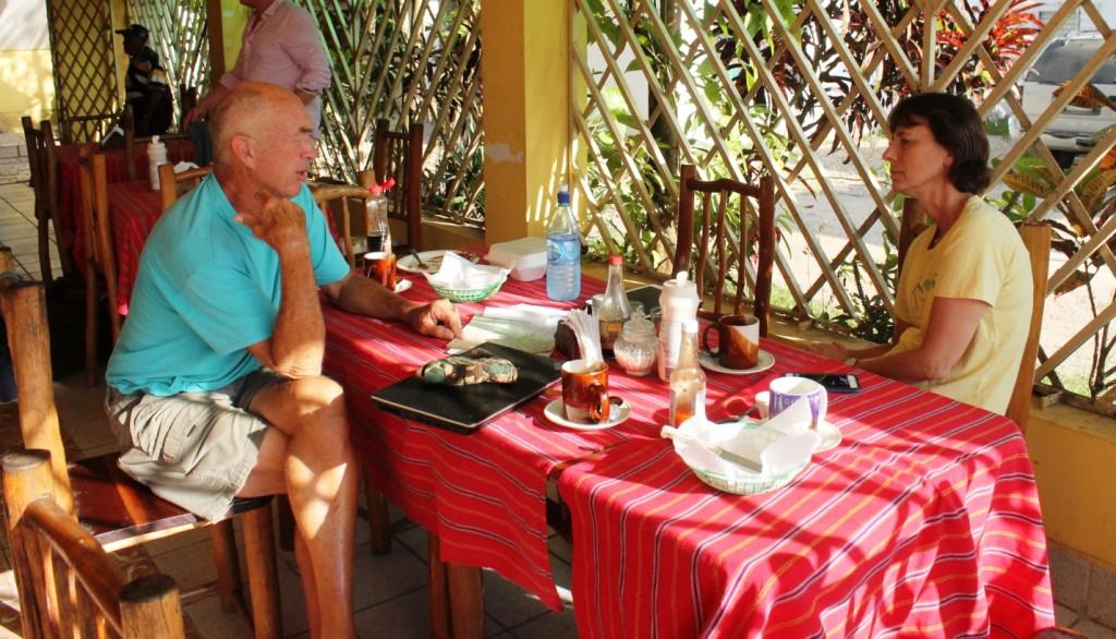 Punta Gorda Rotarian Roy helping us plan our week during Breakfast at Graces Restaurant.