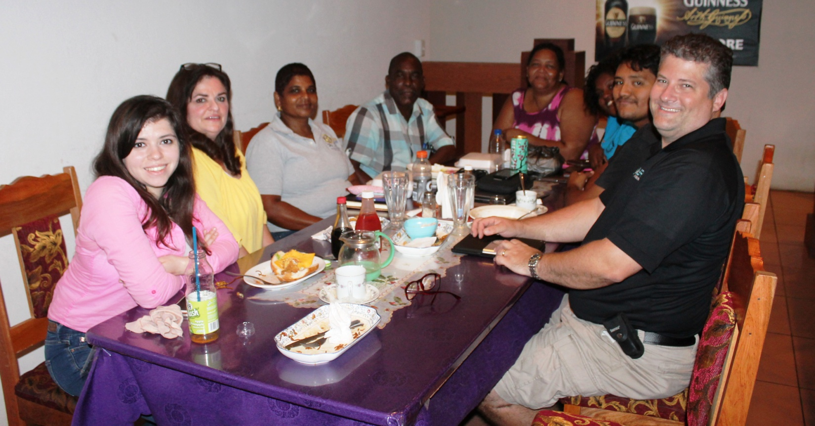 The Mission Team met with the leadership of the Rotary Club of Dangriga for dinner at Ivy's.  From the left are Tori; Amber; Past President and current Treasurer, Judith; former Mayor of Dangriga, current President and President Elect, Gilbert; Secretary and Assistant Governor to the PG Club, Marie; Rotaract President, Ishelly; Mario and Kent.