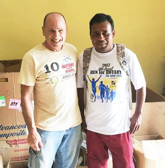 Back at the Belize Training Center Principal Omar (yes, a common name in Belize) from Midway school caught up with us. He wanted to return a box of several electronic items we left at his school. Long live Rotary!!!!
