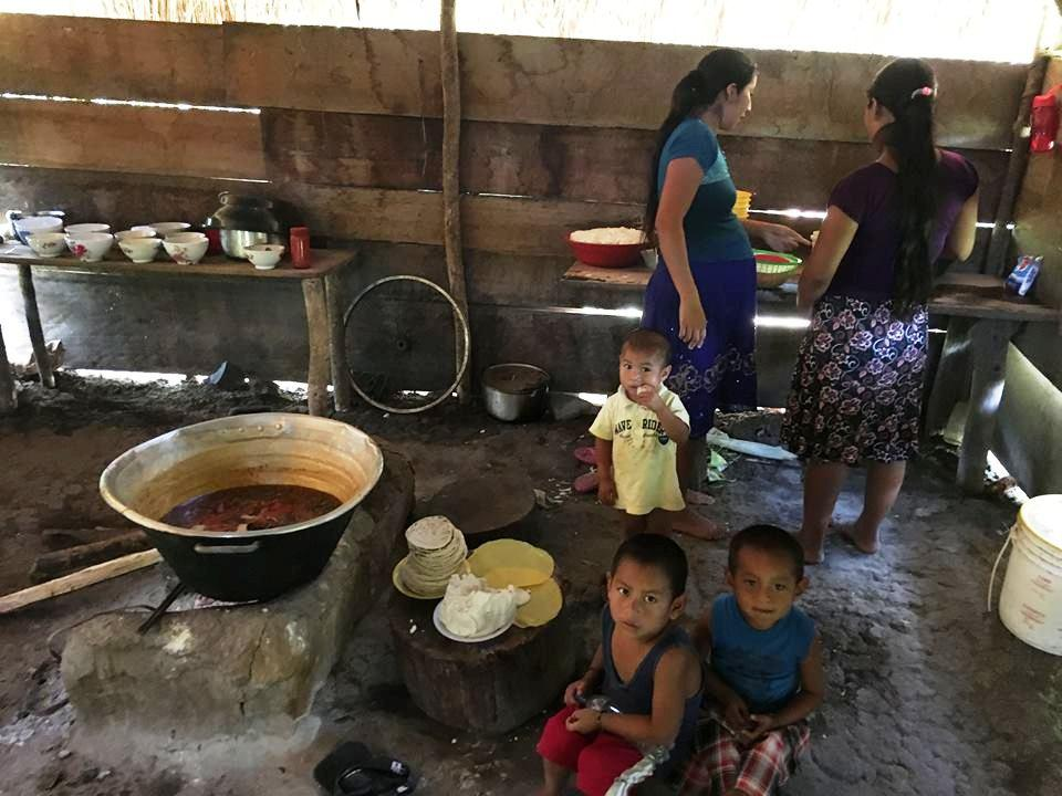 For lunch we had chicken (free range, tough and stringy) soup and tamales. No vegetables or fruit juice. The chickens and dogs were asked to leave so we could eat in peace. The children stayed.