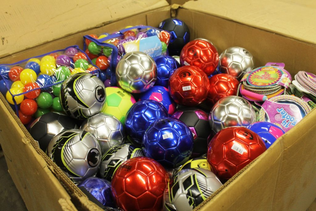 Our colleagues in Mexico asked us to take pictures of what we were sending.  This gaylord was full of soccer, tennis and colorful play balls as well as padded bats for preschool age children.  In another box we sent flying disks.  Almost all the schools we are servicing said they had no sports equipment for their students.
