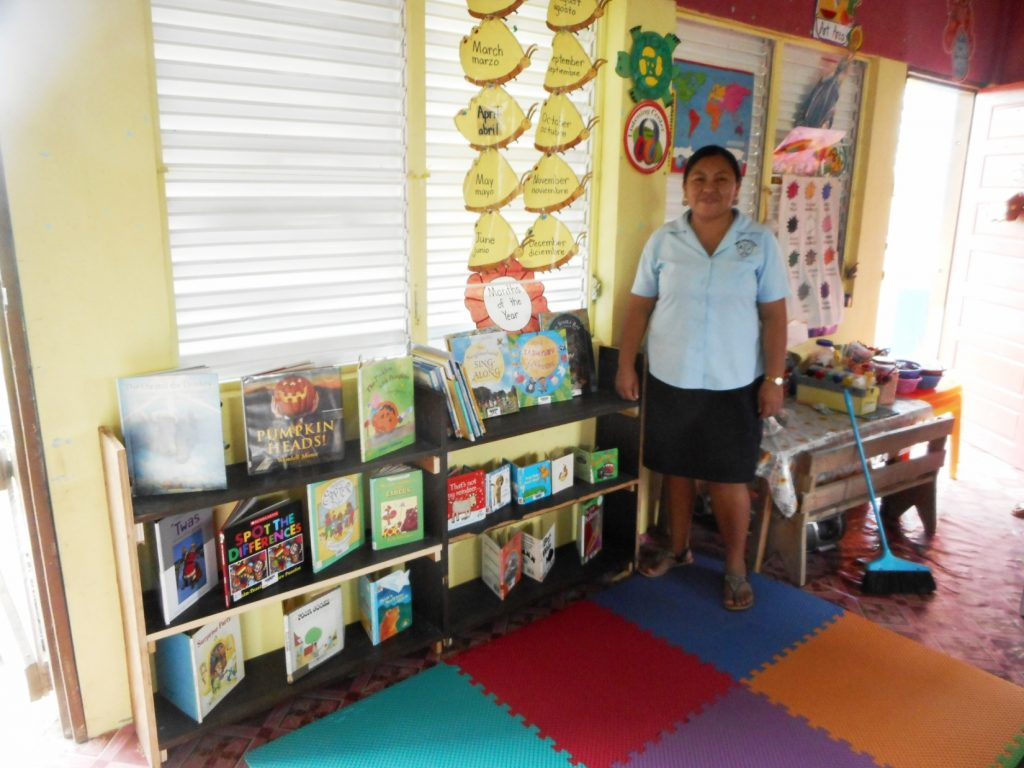 When the flooring is placed on the floor and books set up each classroom has a 'reading corner'.  Teachers are encouraged to hold some books back and rotate them on a continual basis.