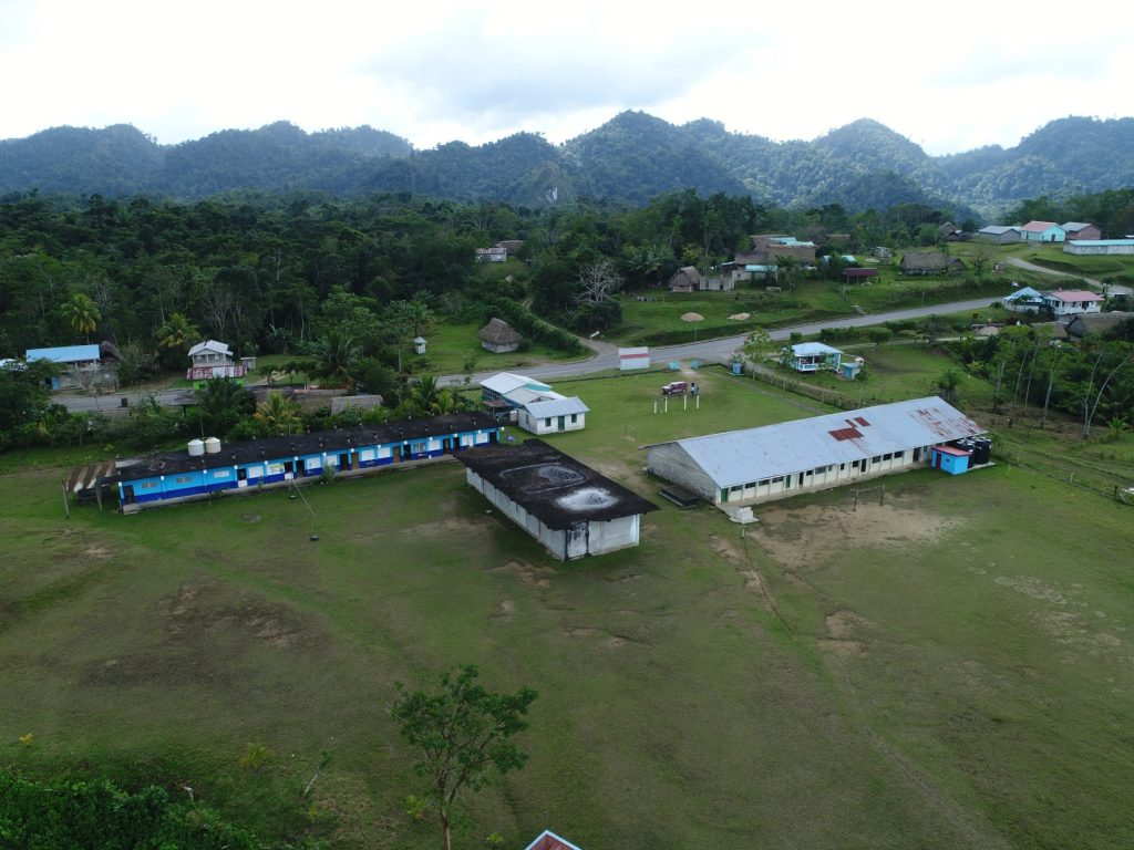 The school at Pueblo Viejo.  This one, along the main road, was off the grid with electricity supplied by the sun.  This is a Mopan Community with Mopan the language spoken at home.  When children come to school they have little or no knowledge of English.