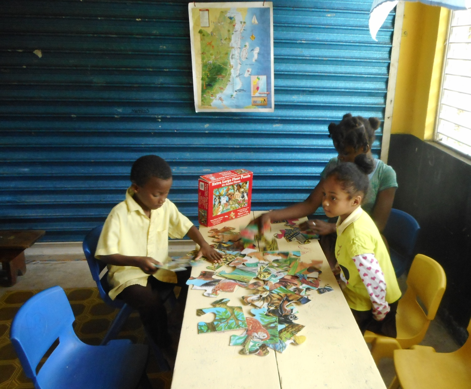 Giant floor puzzles are one of the best learning tools we can send because they involve/develop the students' skills in many ways.