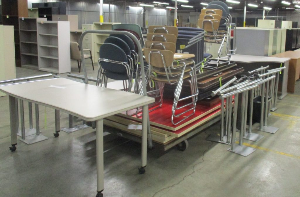 Some of the tables and chairs from the last University of Toledo donation