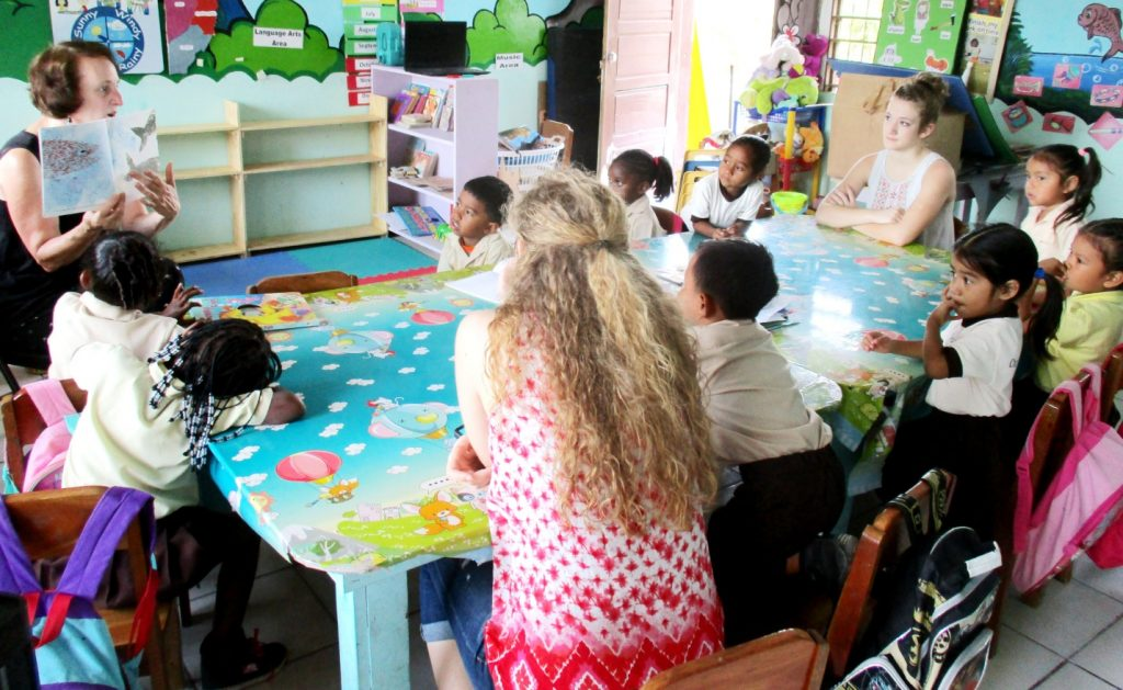 While Kent worked with the preschool teachers on using the software installed on the computer, Karen would take over the classroom… reading stories, singing and playing games. Kent's wife and 2 of his daughters also came on the mission and worked with the teachers and students.